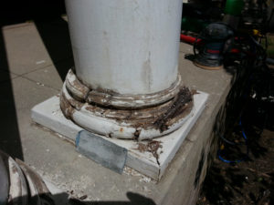 Rotted wood column before epoxy  repair.